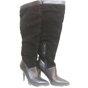 Nine West black leather and suede boots